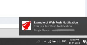 Example of web push notifications