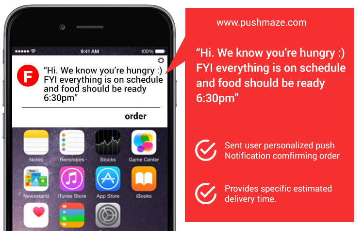 Push Notifications usages in online food chain businesses