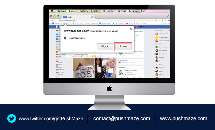 How to turn on push notifications for chrome browser
